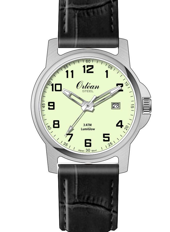 Orlean lumiglow acier bracelet cuir noir 35mm