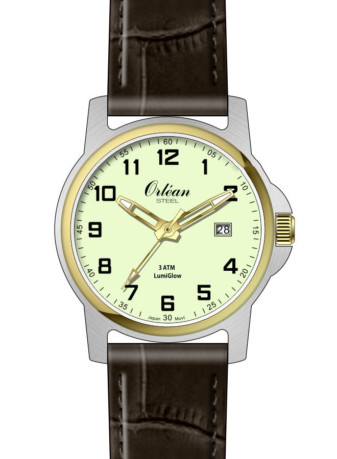 Orlean lumiglow acier 2 tons bracelet cuir brun 35mm