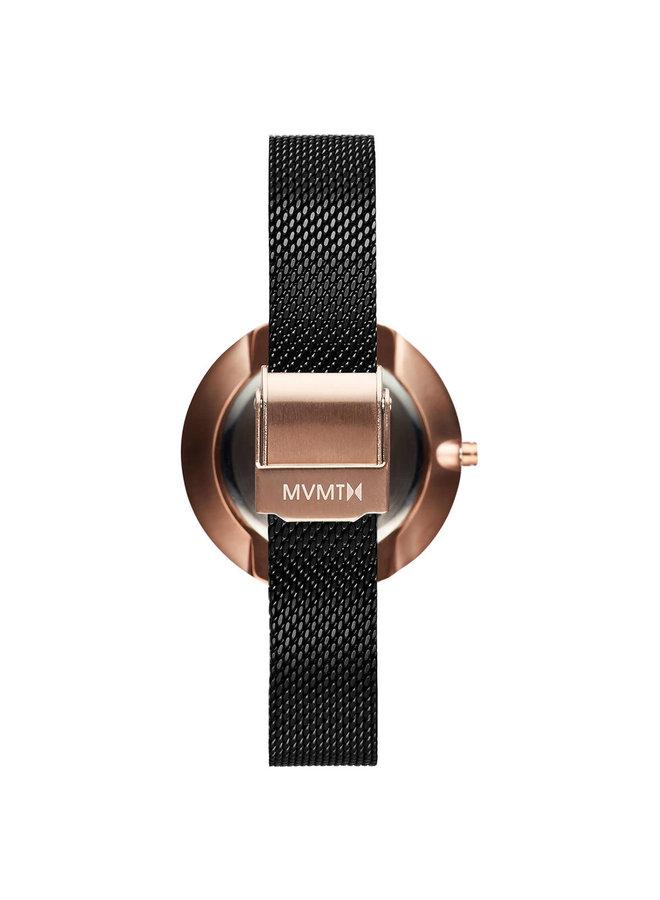 MVMT dame acier rosé fond noir bracelet mèche noir 32mm