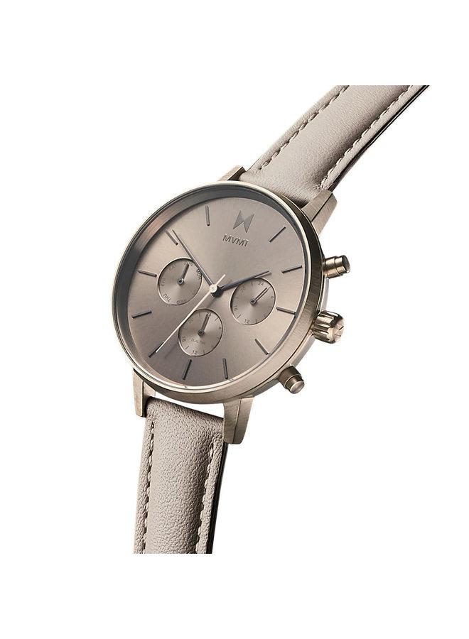 MVMT dame chronographe titanium bracelet cuir beige 38mm