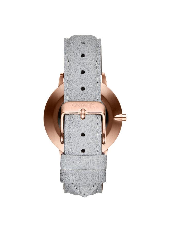 MVMT dame acier rosé fond effet marbre bracelet cuir gris 38mm