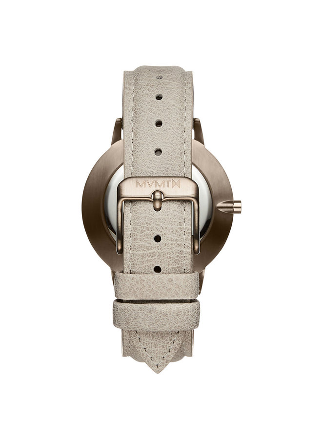 MVMT dame acier rosé fond effet marbre bracelet cuir beige 38mm