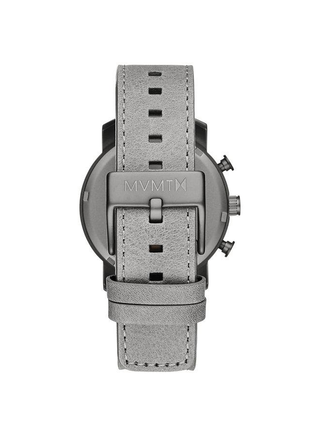 MVMT homme chronographe acier noir fond anthracite bracelet cuir gris 40mm