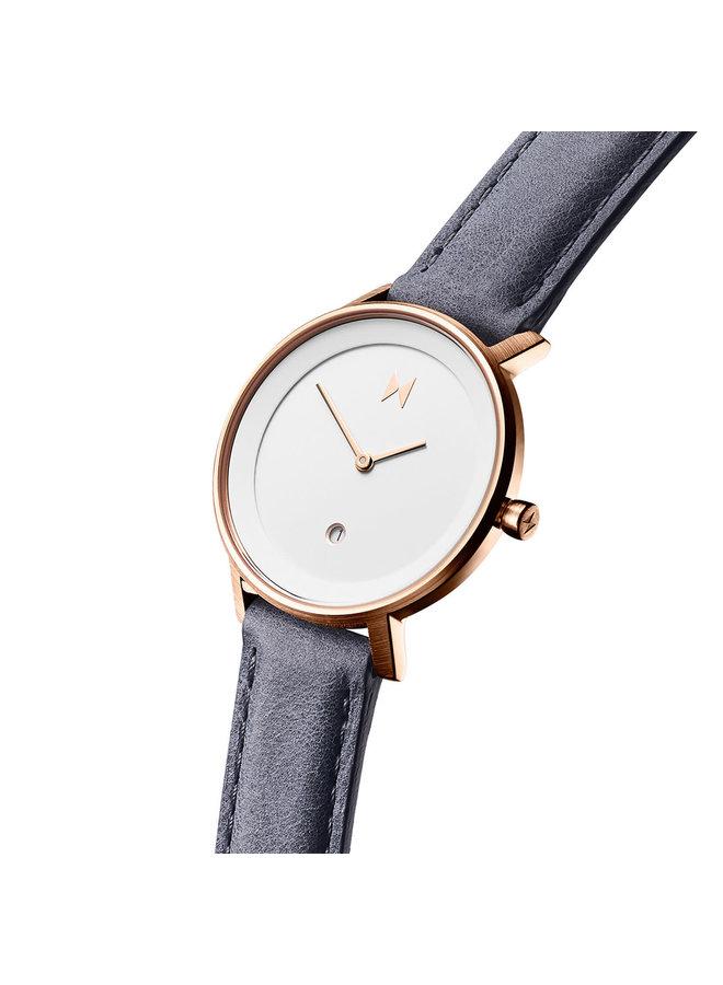 MVMT dame acier rosé bracelet cuir bleu 34mm