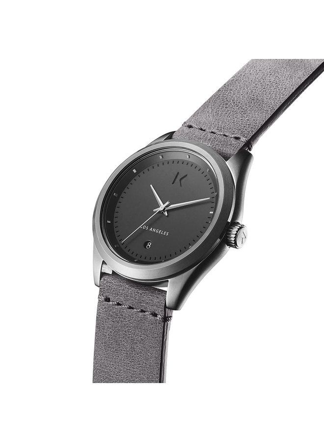 MVMT acier fond anthracite bracelet cuir gris 38mm