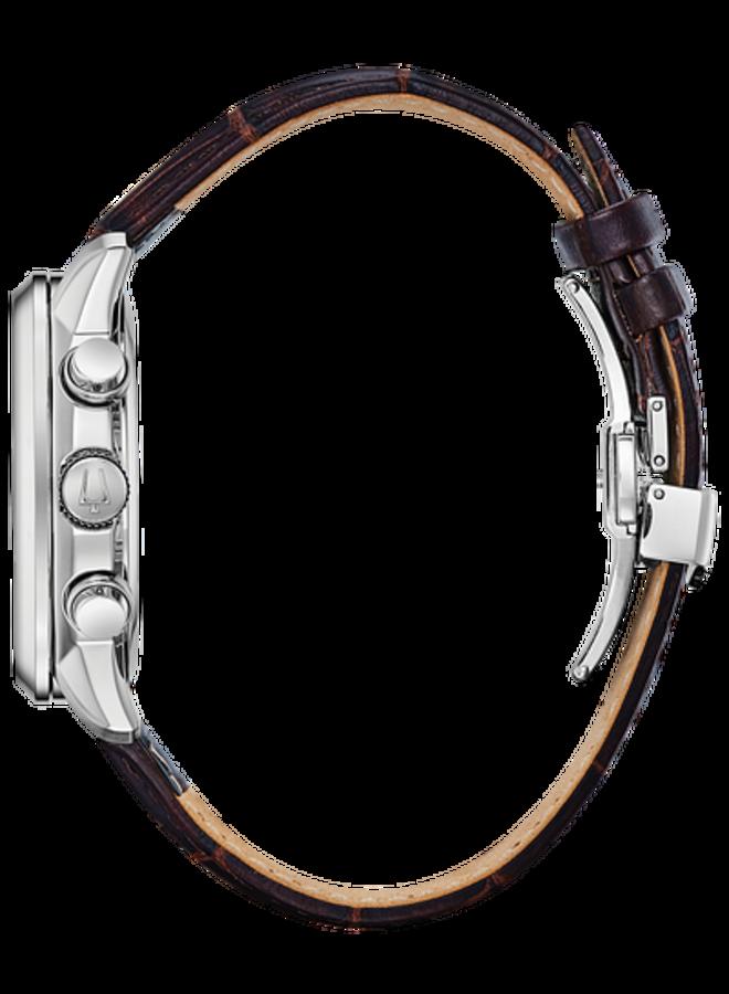 Bulova chronographe homme acier fond blanc bracelet cuir brun 44mm