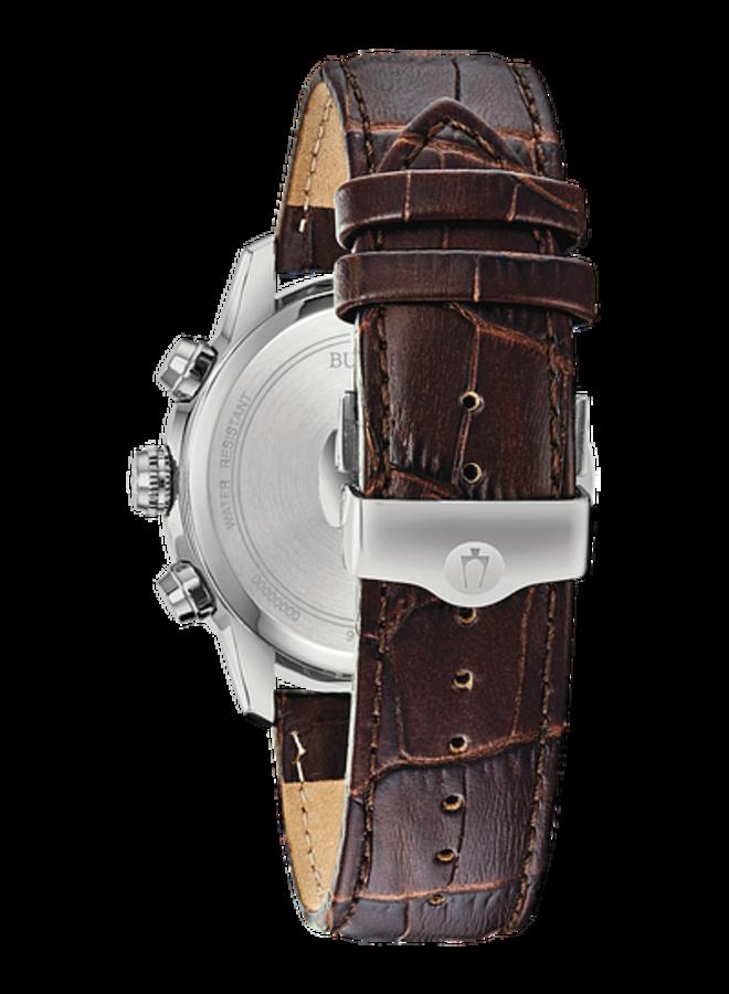Bulova homme acier fond noir bracelet cuir brun 44mm