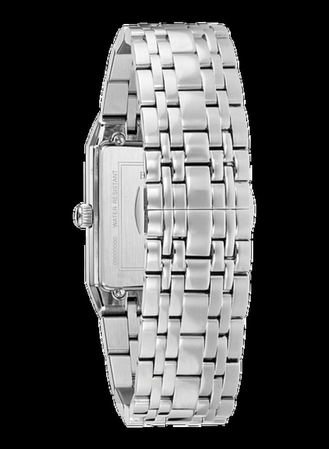 Bulova homme acier fond noir rectangle diamant 30.5mm