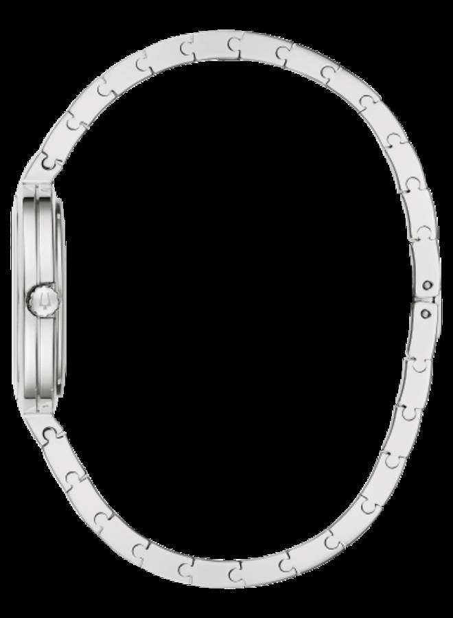 Bulova dame acier fond blanc diamant 30mm