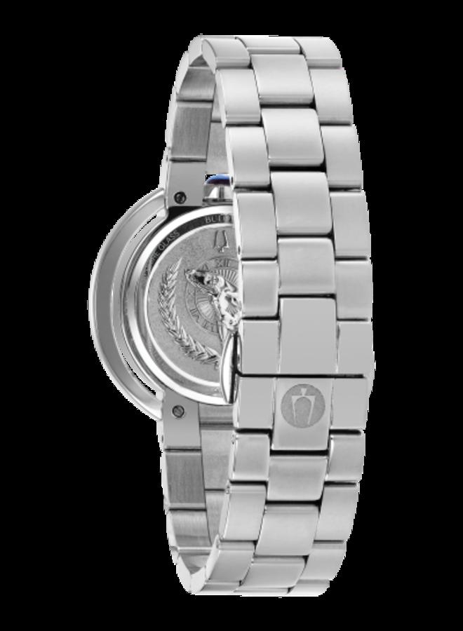 Bulova dame acier fond gris zircon verre sapphir 35mm