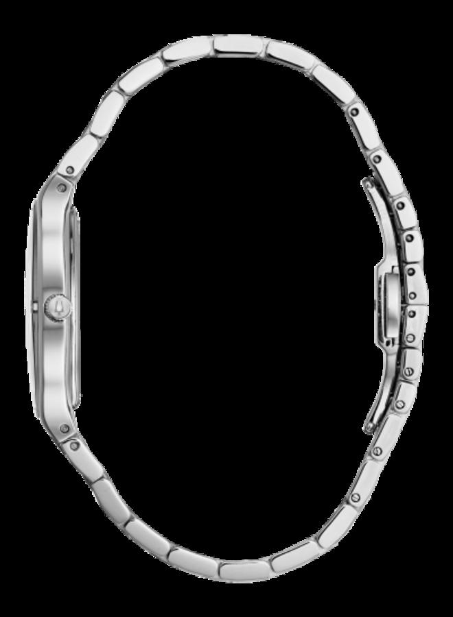 Bulova dame acier fond nacre noir diamant 32mm