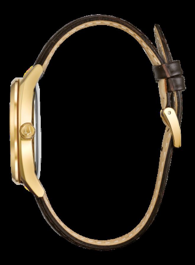 Bulova homme acier doré fond blanc bracelet cuir brun 39mm