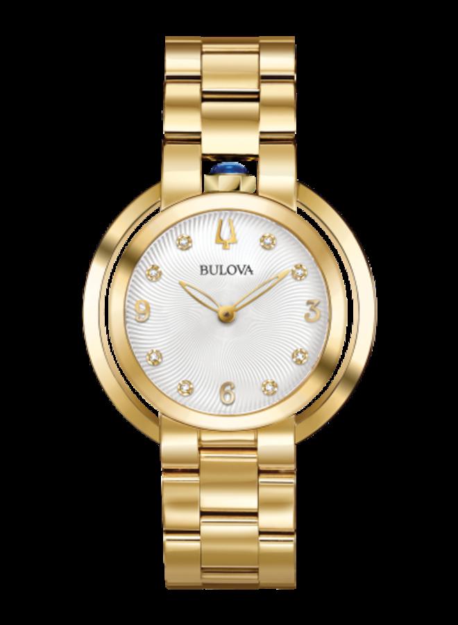 Bulova acier doré fond blanc diamant 35mm
