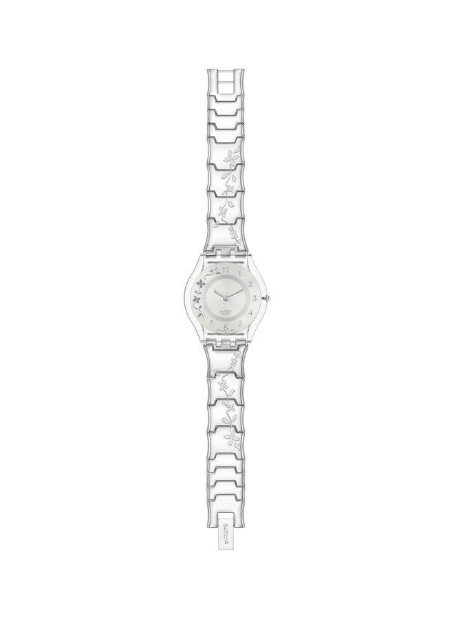 Swatch fleur grimpante fond argent bracelet acier fleur