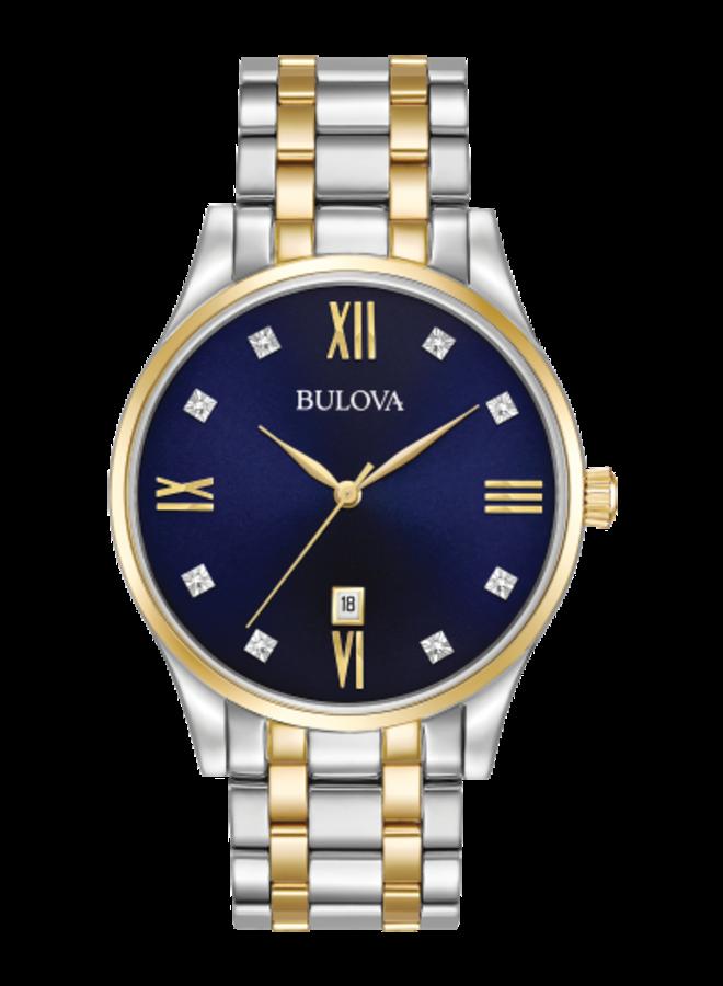 Bulova acier 2 tons fond bleu diamant 40mm