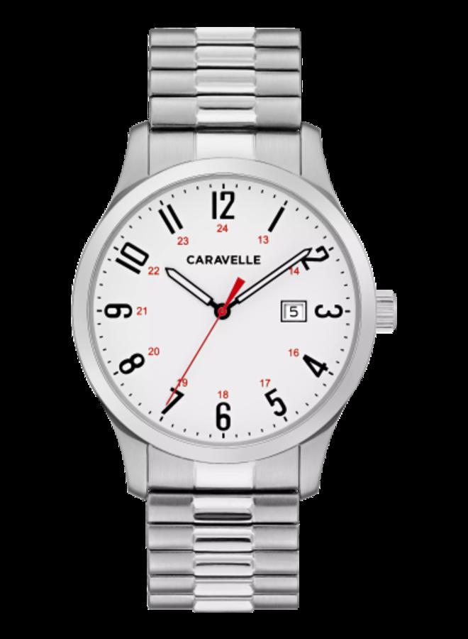 Caravelle homme acier fond blanc bracelet extensible 40mm