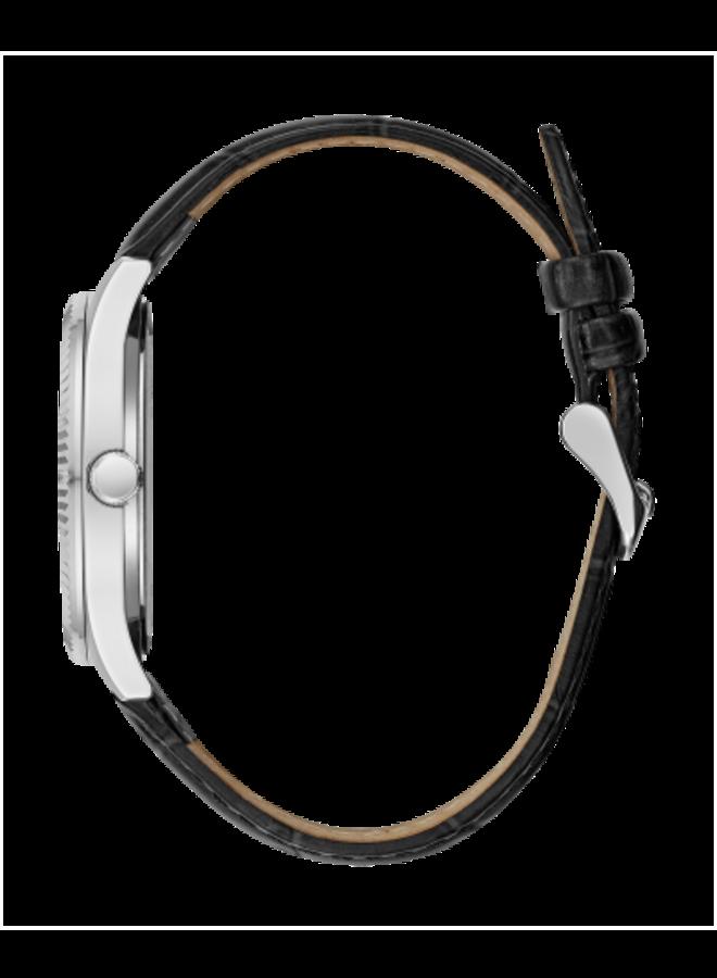 Caravelle acier fond blanc bracelet cuir noir 25mm