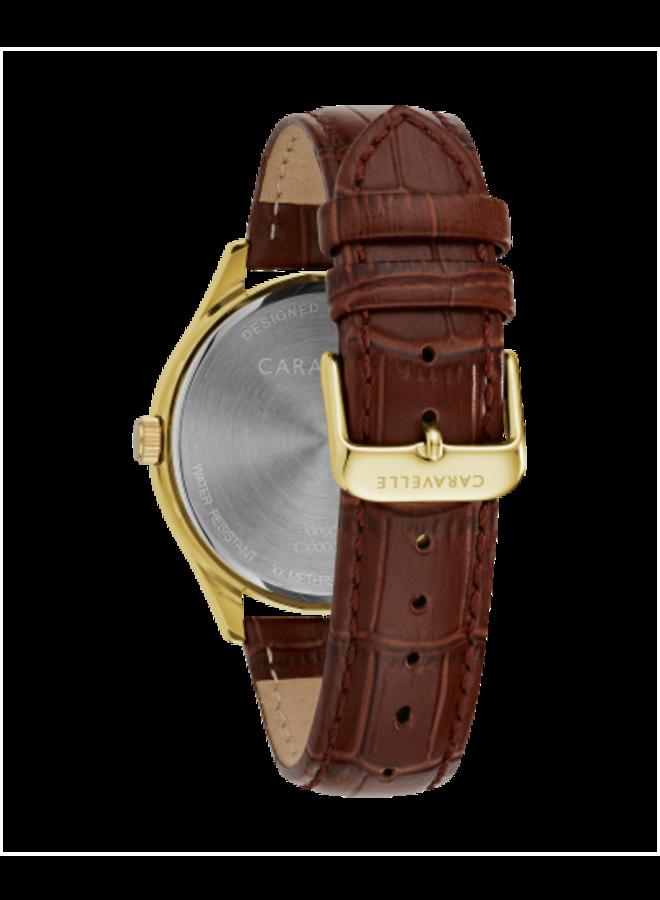 Caravelle homme acier doré bracelet cuir brun 41mm