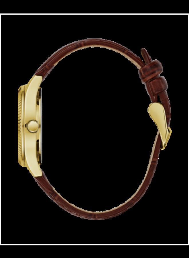 Caravelle acier doré chiffre romain bracelet cuir 32mm brun