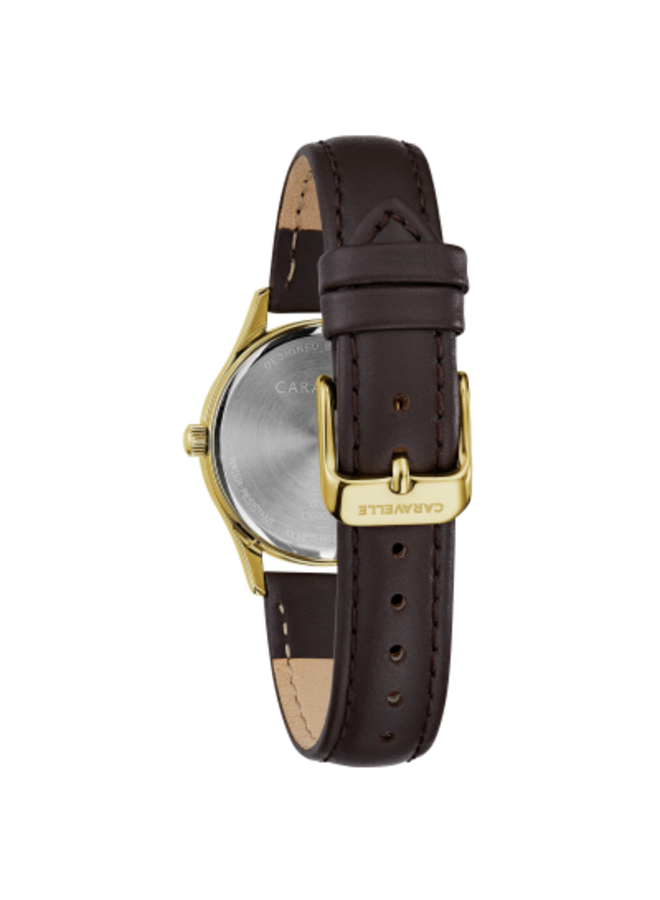 Caravelle acier doré bracelet cuir brun 30mm