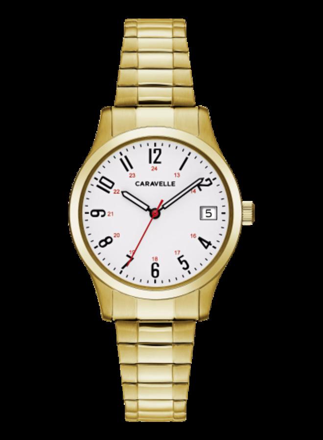 Caravelle dame acier doré bracelet extensible 30mm