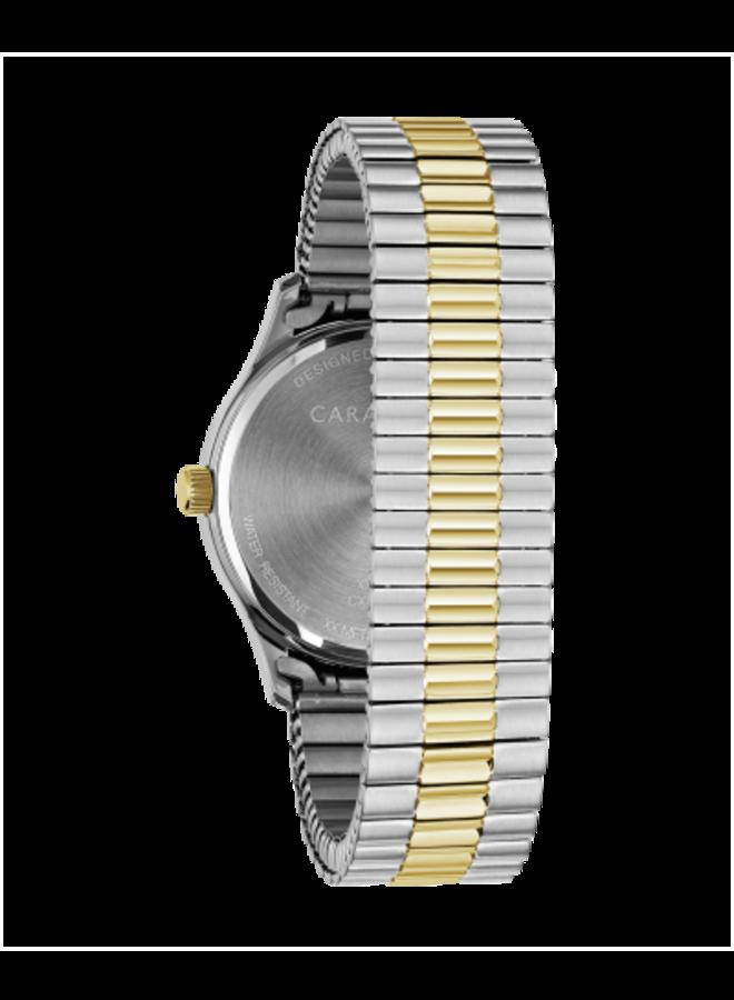 Caravelle homme acier 2 tons bracelet extensible 40mm