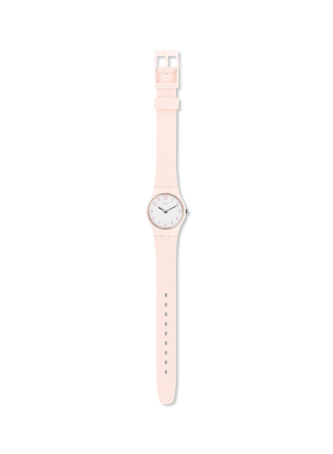 Swatch belle rose fond blanc bracelet silicone rose pale 25mm
