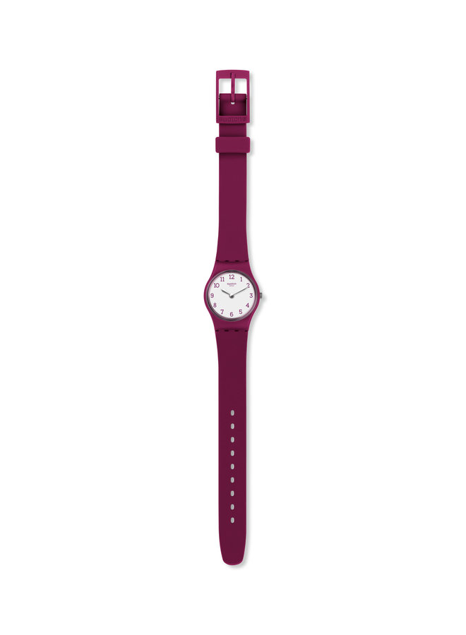 Swatch belle rouge fond blanc bracelet silicone rouge framboise 25mm