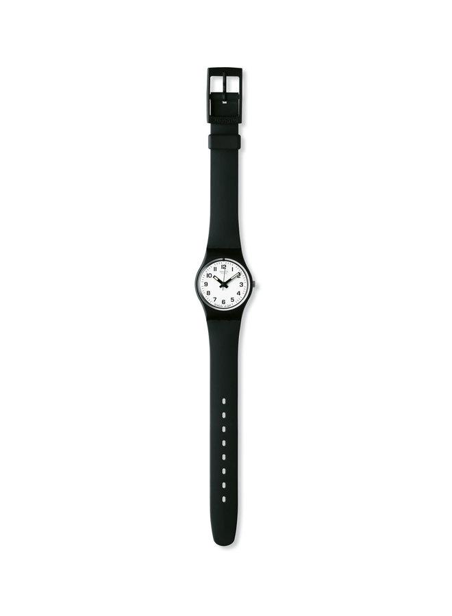 Swatch fond blanc bracelet silicone noir 25mm