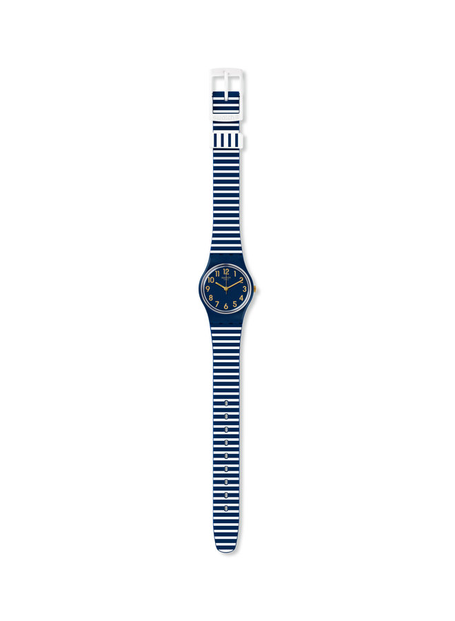 Swatch ora d'aria fond marine bracelet silicone ligné marine et blanc  25mm
