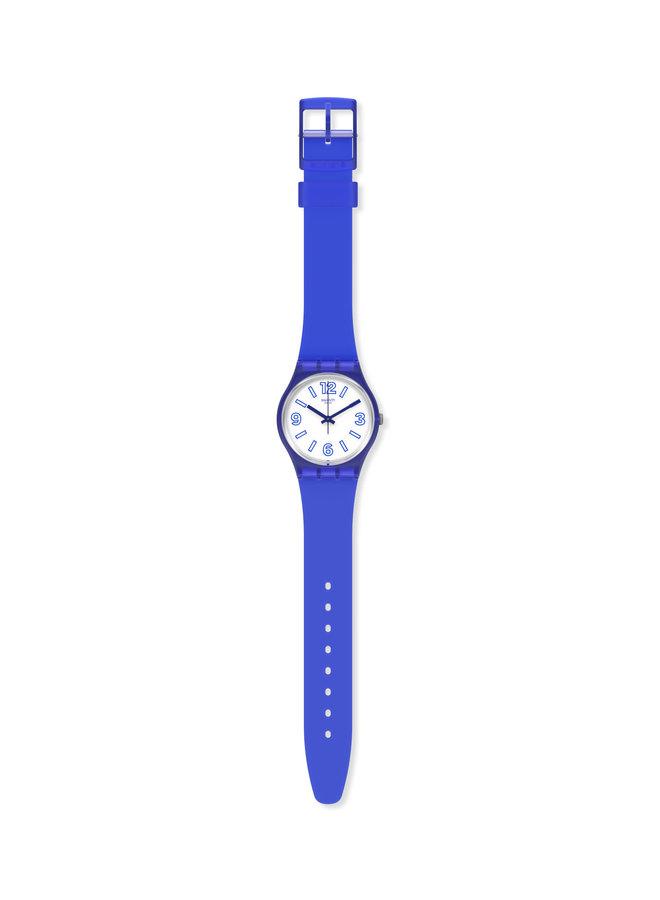 Swatch requin électrique fond blanc bracelet silicone bleu 34mm