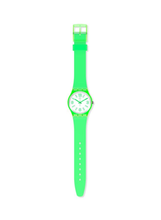 Swatch grenouille électrique fond blanc bracelet silicone vert fluo 34mm
