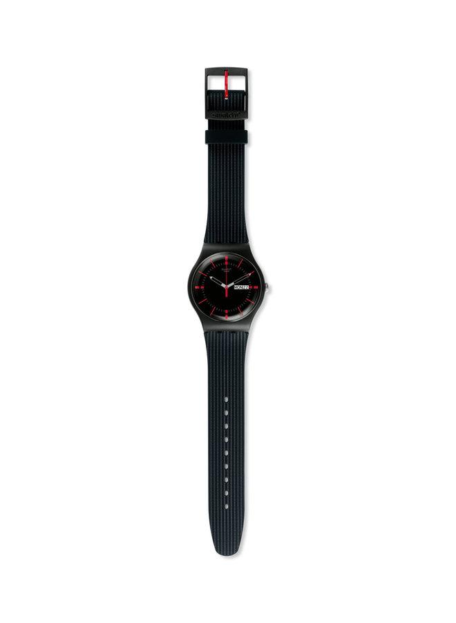 Swatch fond noir aiguille rouge bracelet silicone noir 41mm