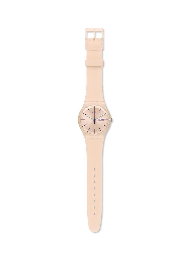 Swatch rebelle fond beige bracelet silicone beige  41mm