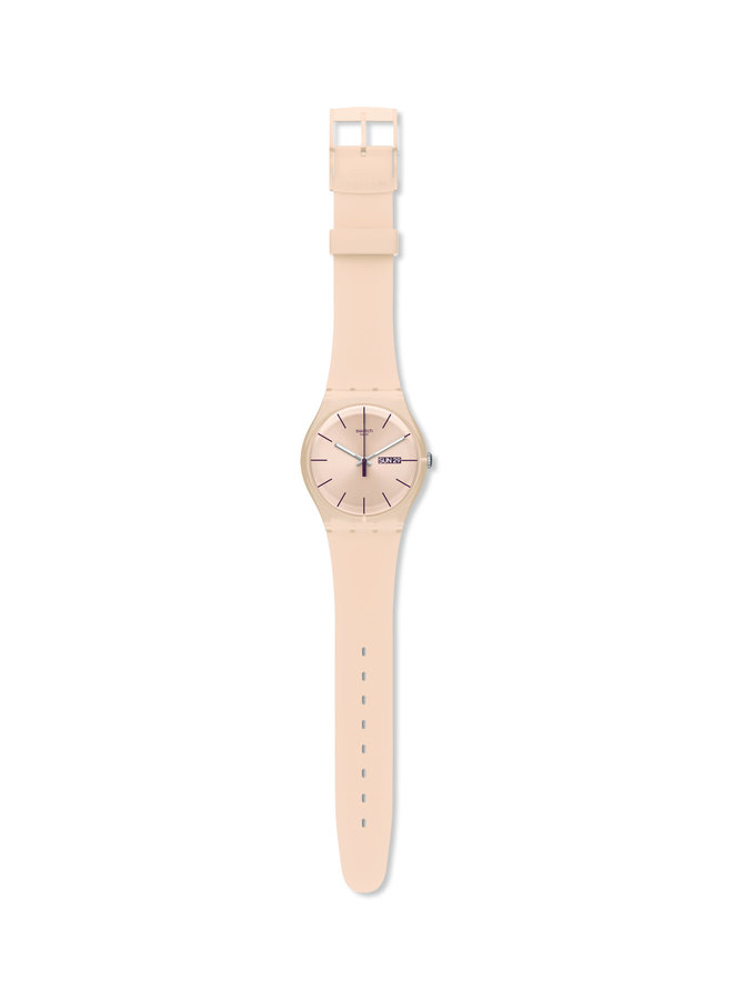 Swatch rebelle fond rose pale bracelet silicone rose pale 41mm