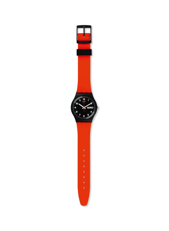Swatch fond noir bracelet silicone rouge 34mm