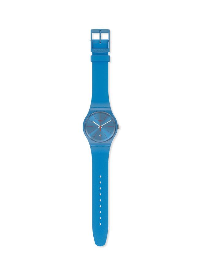 Swatch fond et bracelet silicone bleu lagoon 41mm