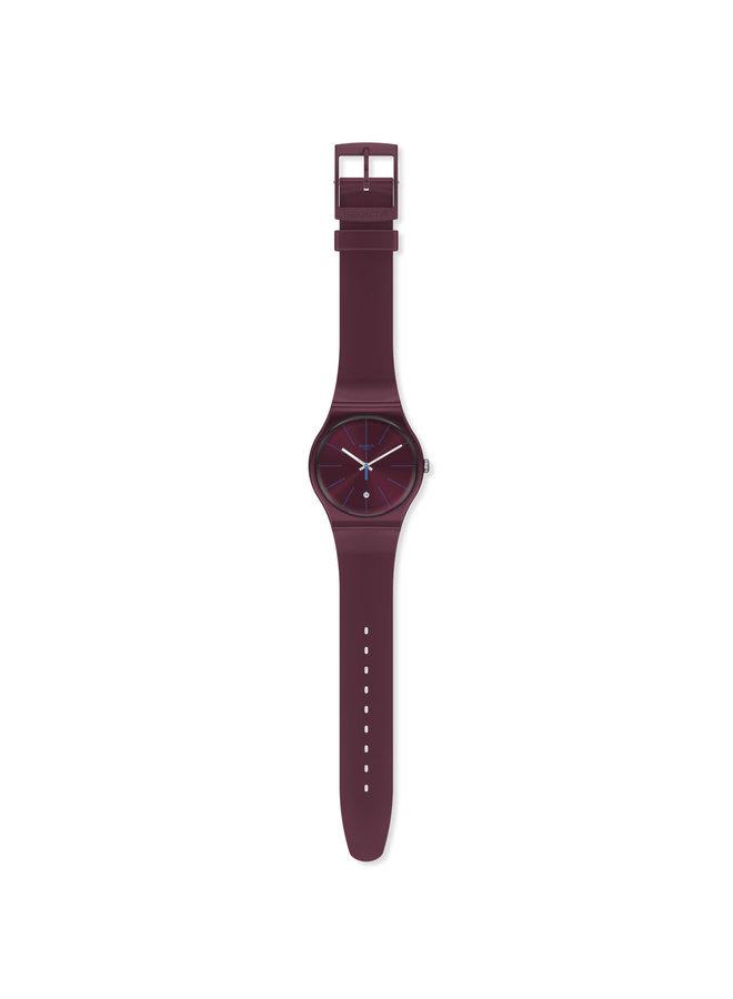 Swatch fond et bracelet silicone bourgone 41mm