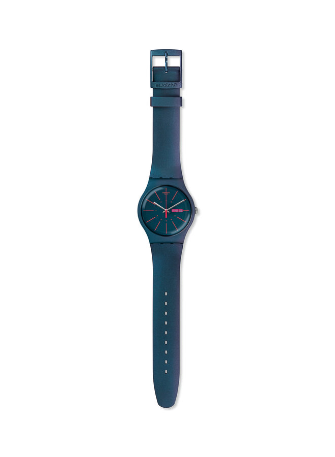 Swatch fond bleu bracelet silicone bleu 41mm