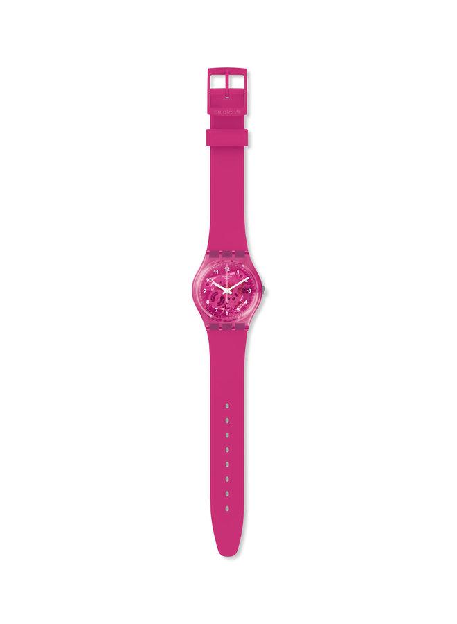 Swatch gomme fond et bracelet silicone rose fushia