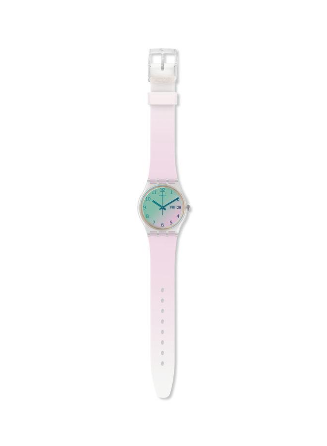 Swatch ultra rose fond dégradé turquoise a rose bracelet silicone rose pale 34mm
