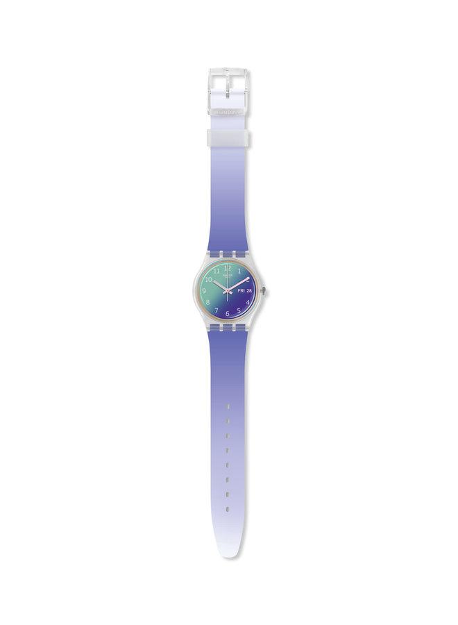 Swatch ultra lavande fond mauve bracelet silicone dégradé mauve 34mm