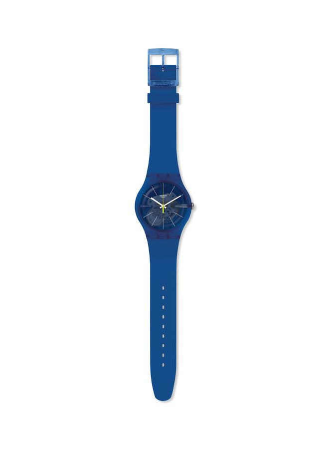 Swatch sirop fond bleu bracelet bleu 41mm