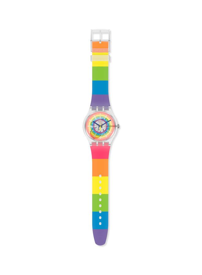 Swatch été magique fond et bracelet silicone arc-en-ciel 41mm