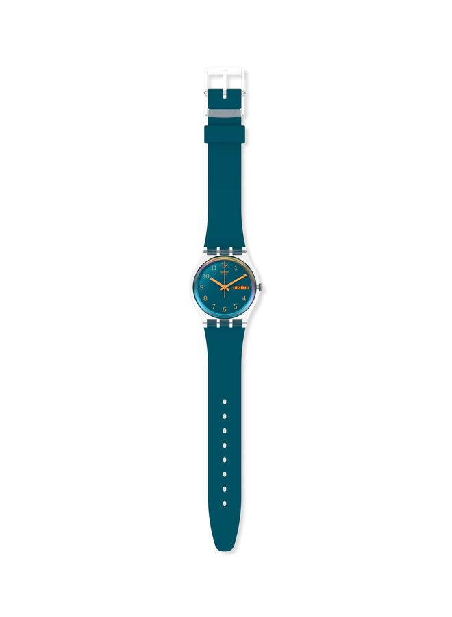 Swatch fond bleu aiguille orange bracelet silicone bleu 34mm