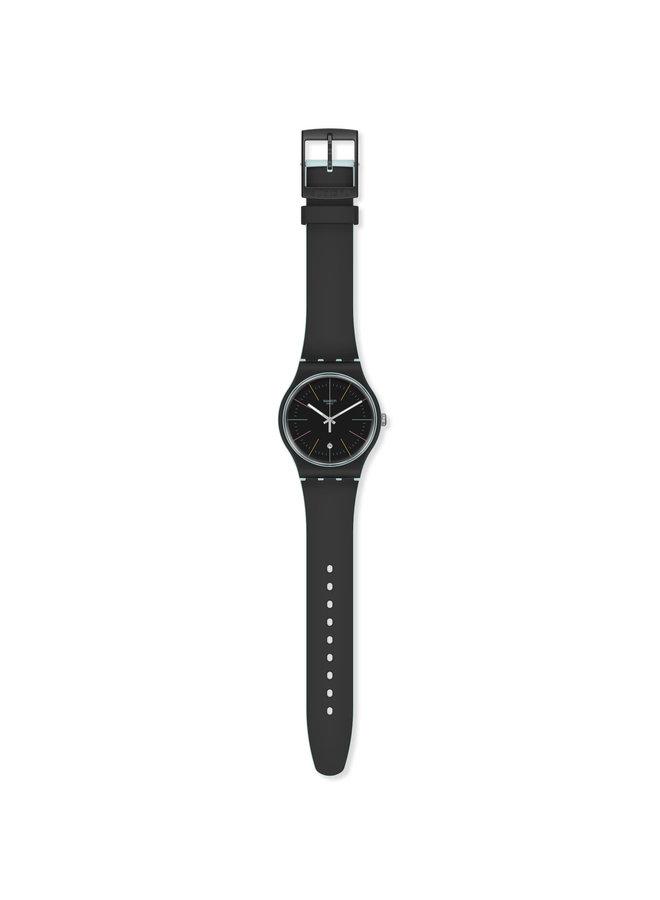 Swatch fond noir bracelet silicone noir 41mm