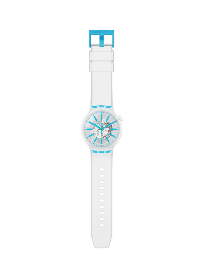 Swatch fond blanc et bleu bracelet silicone blanc 47mm