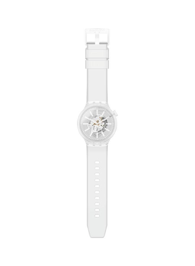 Swatch fond blanc bracelet silicone blanc 47mm