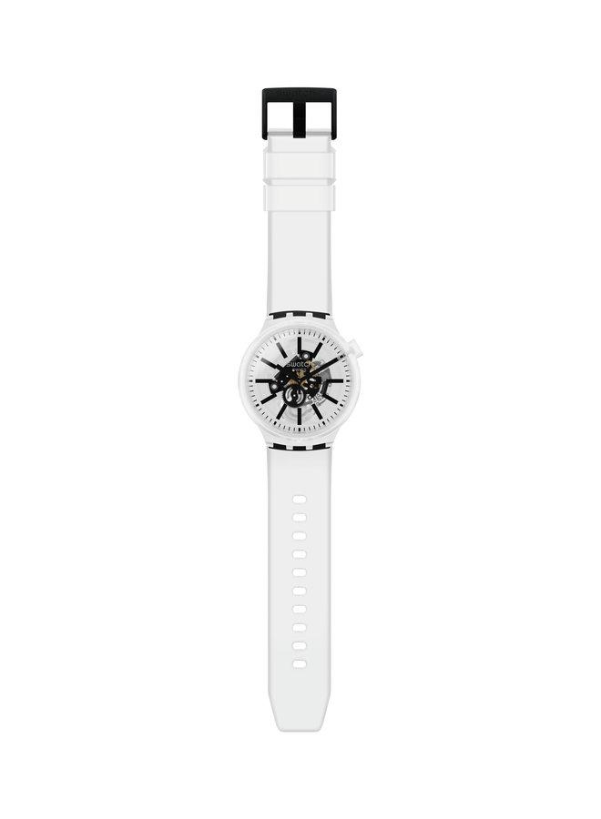Swatch fond blanc et noir bracelet silicone blanc 47mm