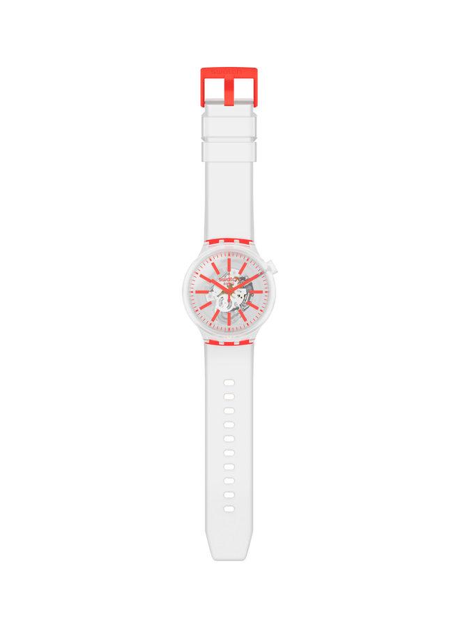 Swatch fond blanc et orange bracelet silicone blanc 47mm